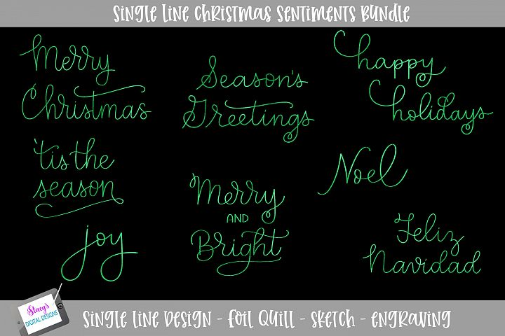 Single Line Christmas Sentiments - 8 quill / sketch designs