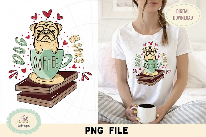 Coffee dog book, PNG file, sublimation, DTG print design