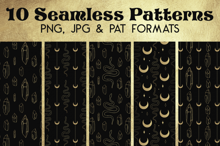 Gold Black Snake Crystal Paper - Seamless Photoshop Pattern