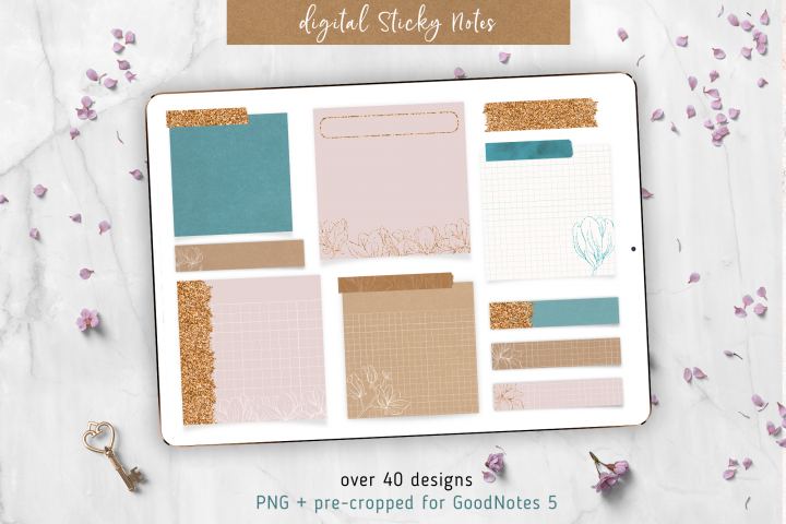 Digital Sticky Notes Glam Style | Emerald and Pink | Glitter