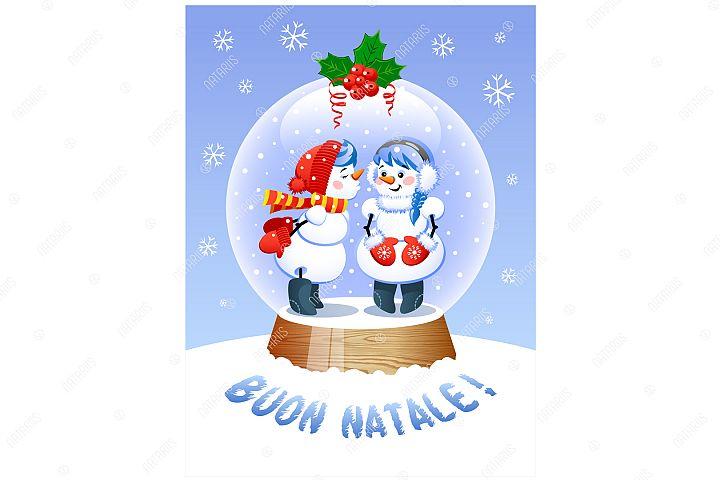 Merry Christmas In Italian. Cute Christmas Snow Globe.