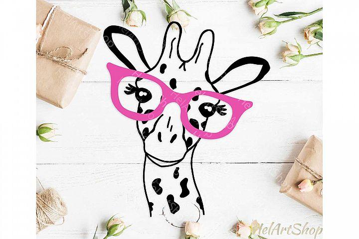 Giraffe face svg, Giraffe with glasses svg, Safari svg, Cute
