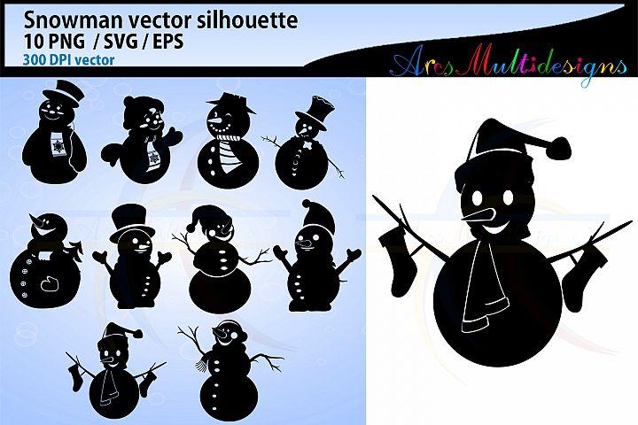 Snowman silhouette svg clipart / snowman / christmas snowman