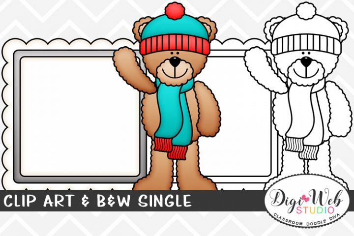Clip Art & B&W Single - Winter Teddy Bear w/ Message Board