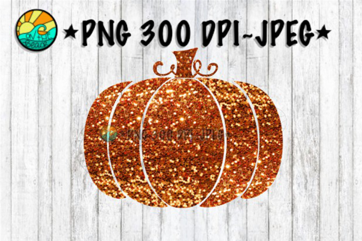 Pumpkin - Glitter - Orange - PNG for Sublimation & JPEG