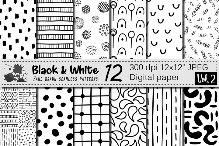 Black and White hand drawn seamless doodle digital papers