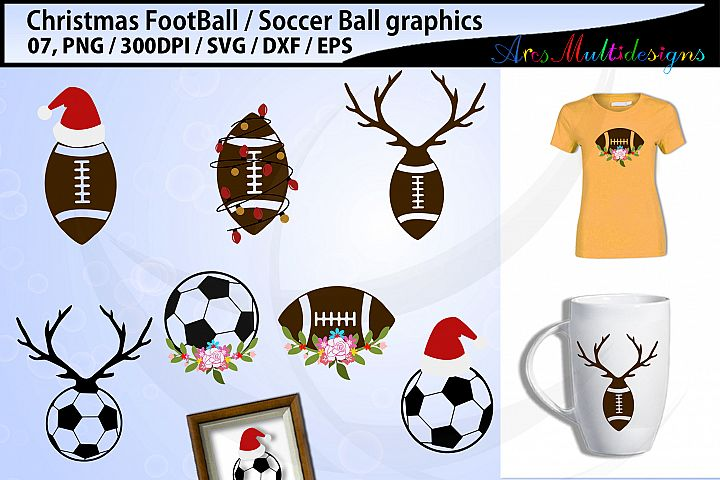 Christmas football svg / Christmas soccerball svg / vector