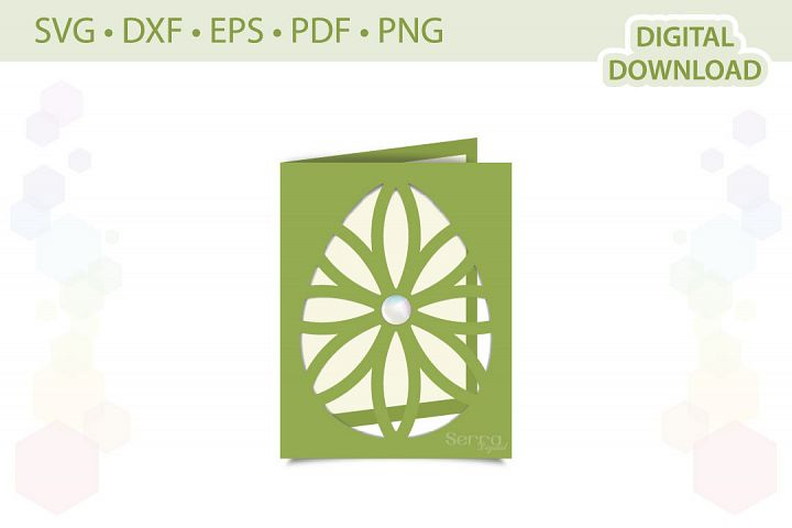Easter Egg Greeting Card cut file SVG DXF EPS PDF PNG