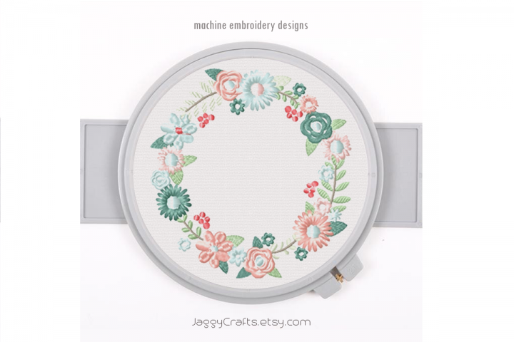 Spring Floral Wreath Frame Monogram Embroidery Design