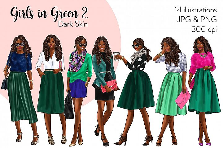 Fashion illustration clipart - Girls in Green 2 - Dark Skin