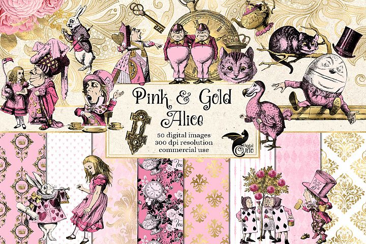 Pink and Gold Alice in Wonderland Graphics