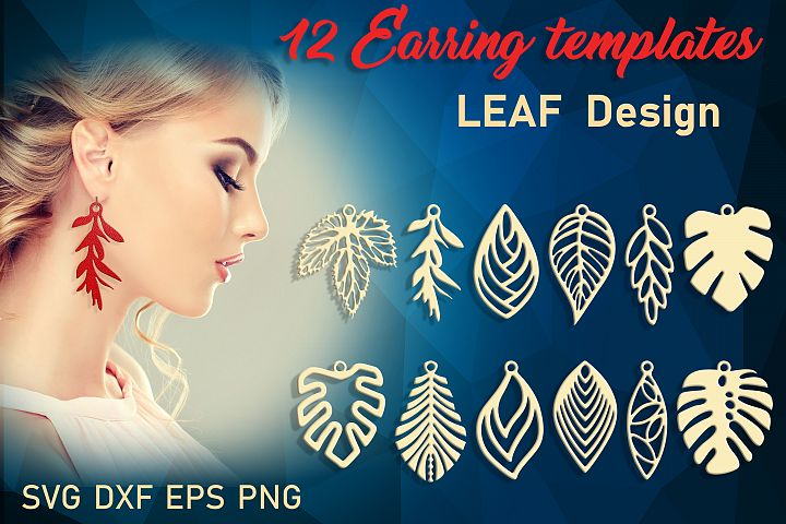 12 Leather leaf earring svg Nature earrings Floral earrings