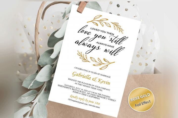 Renew Vows Invitation Template, Anniversary Invite