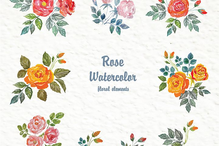 Set of watercolor design elements: rose flowers, plants, butterflies, seamless patterns, splashes.  - Free Design of The Week Design7