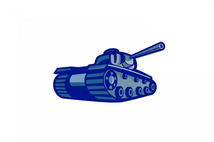 American World War Two Battle Tank Retro