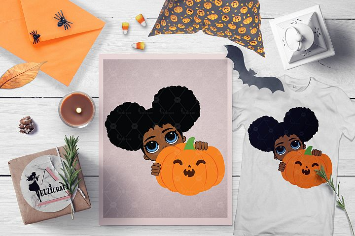 Halloween Afro Peeking Girl Pumpkin Smile SVG Cut File