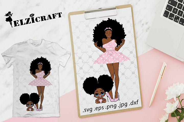 Afro Woman, Mommy and baby, Mother and daughter SVG Cut File