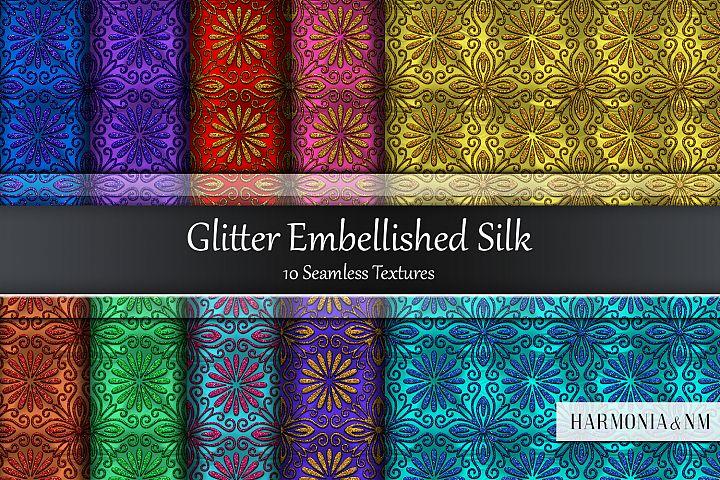 Glitter Embellished Silk 10 Seamless Textures
