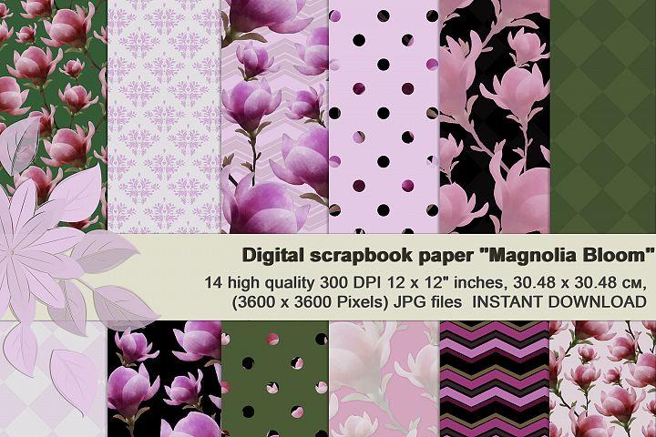 Magnolia bloom, Digital, Watercolor Floral Wedding paper.