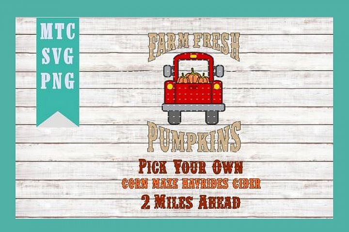Autumn Pumpkin Truck DIY Farm Sign Design #02 SVG Cut File