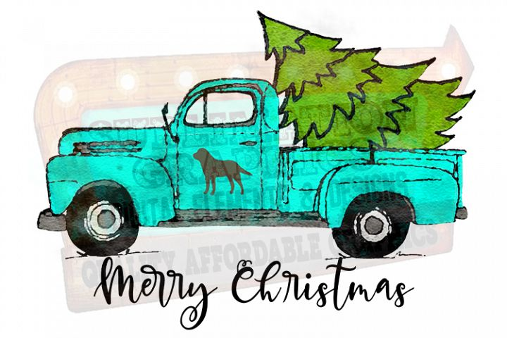 Merry Christmas Truck Sublimation Digital Download