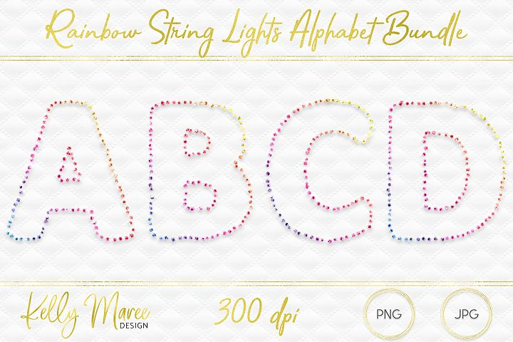 Rainbow String Lights Alphabet Graphic Bundle