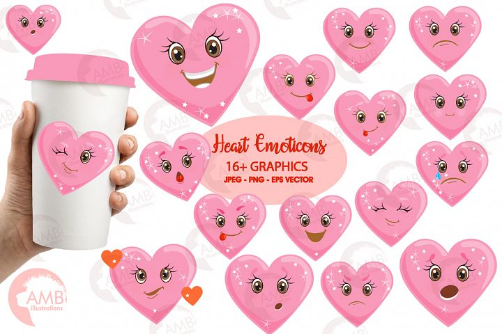 Valentine faces clipart, Heart emojis clipart, graphics illustrations AMB-1172