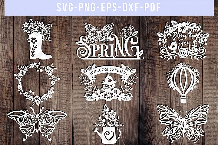 Bundle of 9 Spring Papercut Templates, Butterfly SVG, Garden