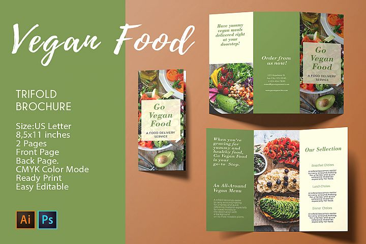 Trifold Brochure Vegan Food |2 PSD/AI Templates - CMYK