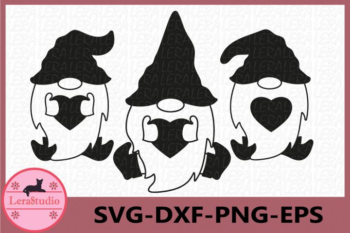 Gnome silhouette SVG, Gnome Valentines Day