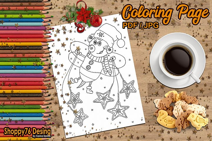 Christmas bee / Coloring page