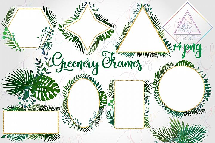 Watercolor Greenery Frames and Borders Clipart
