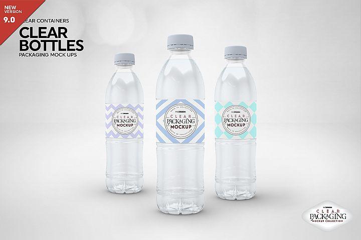 Clear Bottles Packaging Mockup