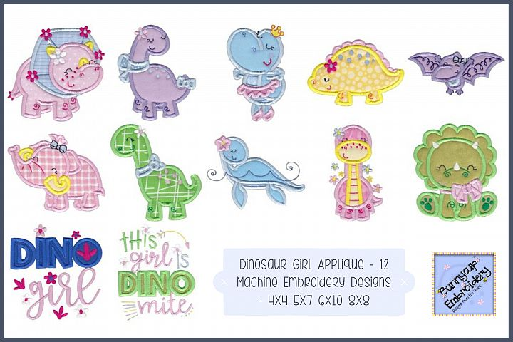 Dinosaur Girl Applique - 12 Machine Embroidery Designs
