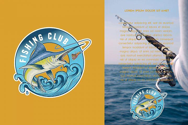Blue marlin fishing logo illustration