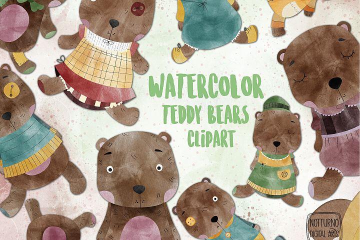 Watercolor Teddy bear Clipart. Set of 16 cute teddy bears