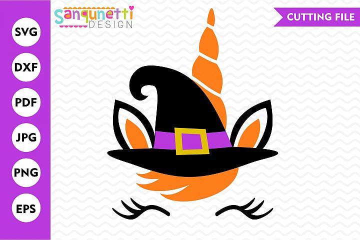 Unicorn witch SVG, Halloween cut file