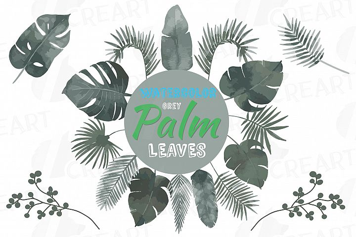 Grey Palm leaves watercolor clip art pack, gray leafs