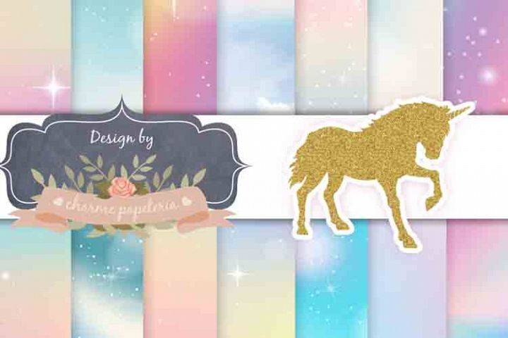 Unicorn sky glitter Digital Paper, Rainbow, Gold, Glitter