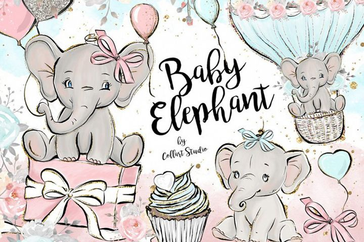 Baby Elephant clipart, Baby boy baby girl clipart, birthday