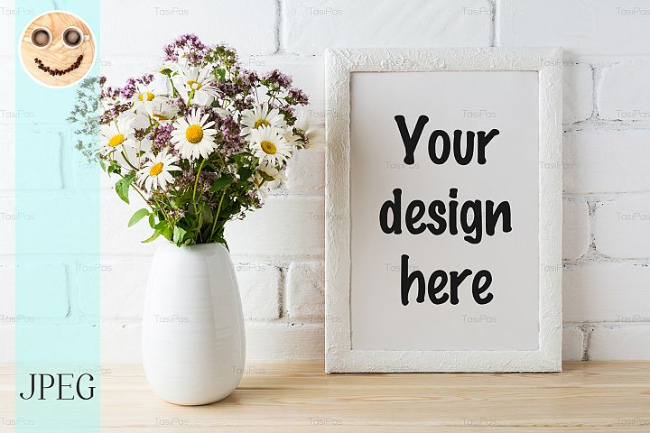 White frame mockup with blooming wildflower bouquet