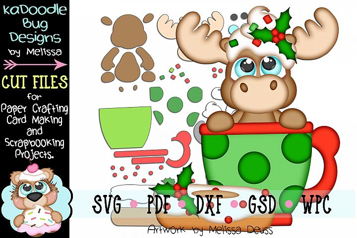 Christmas Coffee Moose Cut File - SVG PDF DXF GSD WPC