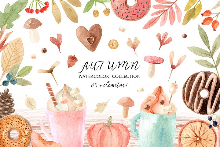 Watercolor Autumn Clipart Collection. Cozy patterns