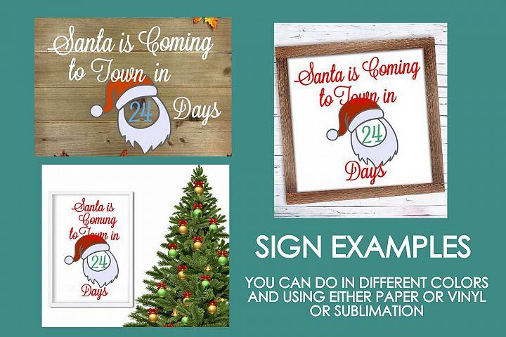 Christmas Santa Coming Sign Design #01 SVG Cut File PNG