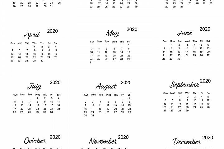 Calendar 2020 vector with minimalistic design