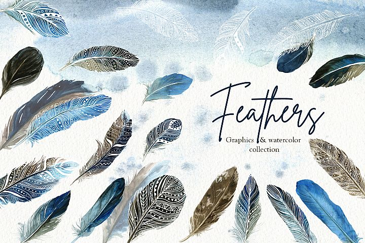 Feathers. Graphics & watercolor set