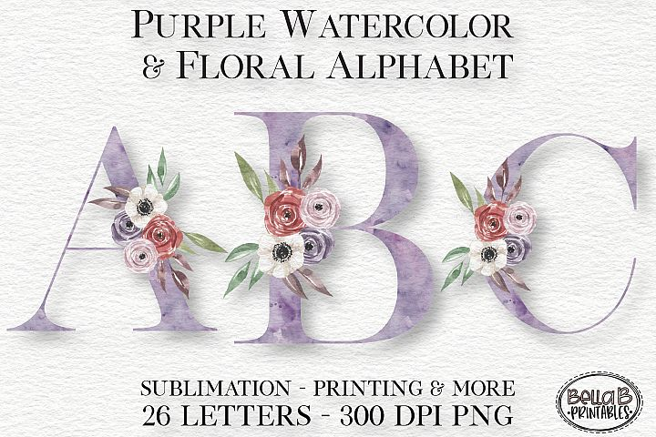 Purple Watercolor Floral Alphabet Set, Sublimation Alphabet
