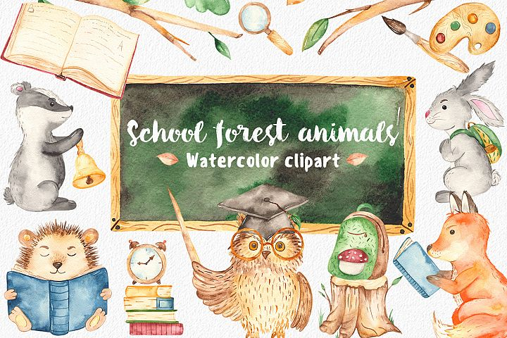 School forest animals watercolor clipart Teachers Day