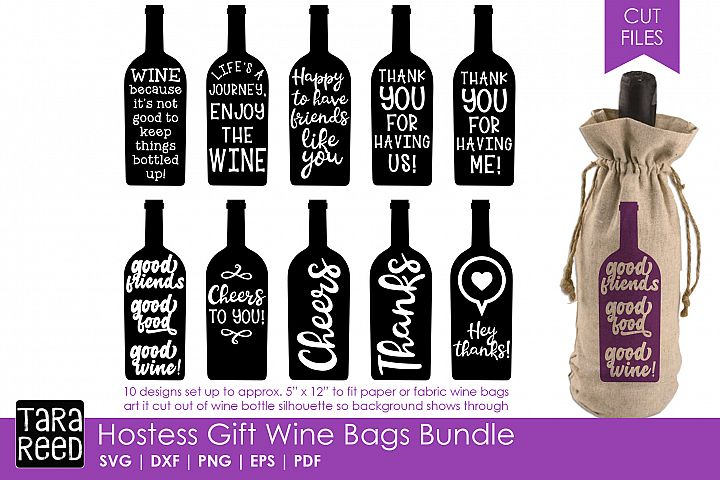 Hostess Gift Wine Bags - SVG or Cut Files for Crafters
