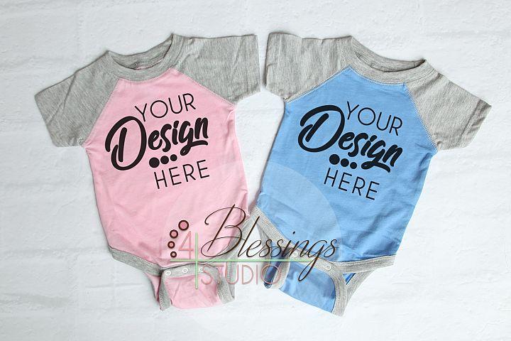 Raglan Bodysuit Mockup Blank Pink Gray Baby Rabbit Skins